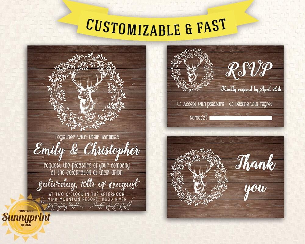 rustic wedding invitation template wedding by sunnyprint