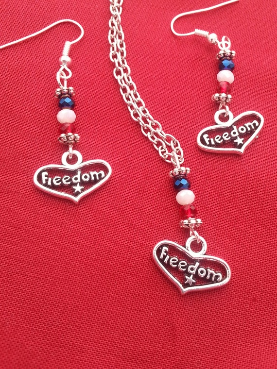 Patriotic Jewelry, Military Wife Mom Gifts, Patriotic Necklace Earrings Set, 4th of July, God Bless USA,Red White Blue Jewelry,Freedom Charm