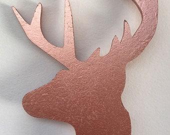 Wooden deer brooch