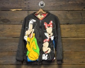 Disney Mickey & Friends Reversible All-Over Print Soft Bomber Jacket // Authentic 90s // Disneyland // Walt Disney