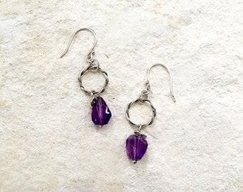 Amethyst Twist Earrings, 925 Sterling Silver