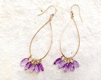 Amethyst Teardrop Earrings, 14k gold-fill