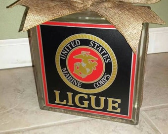 Personalized Marines 8x8 lighted glass block