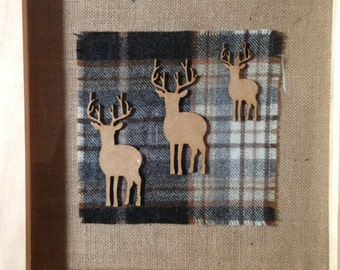 """stag family on tartan in 14"""" frame"""