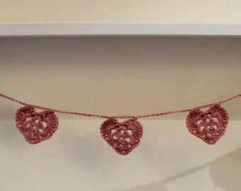 Dusky Pink Crocheted Heart Garland Bunting