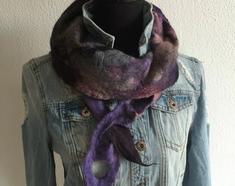 Wearable art ... Playful felted scarf in Merino Wool with silk dyed in warm shades of purple