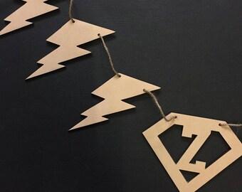 Super Hero Lightning Bolt Garland Bunting Decor Wall Hanging Gift Boho Door Sign Bedroom Decor Teepee Styling Nursery Decor