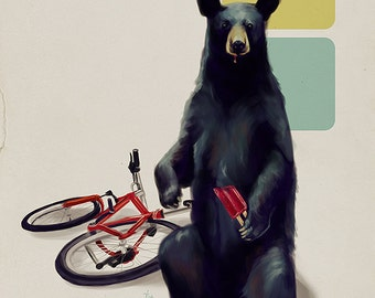 Cute bear with a popsicle art print // pigment print, archival, 5x7 8x10 11x14 // bear with a bike and tasty treat