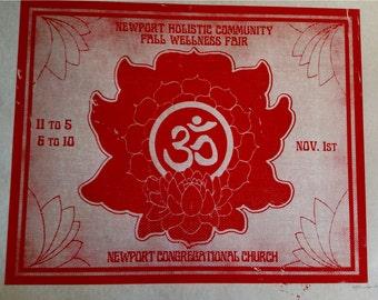 Namaste lotus hand printed silk screen poster