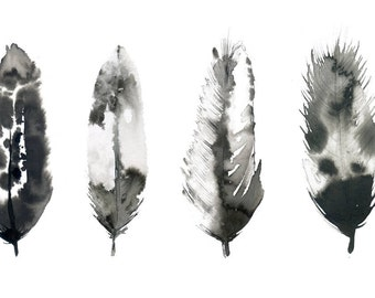 Inky feathers painting