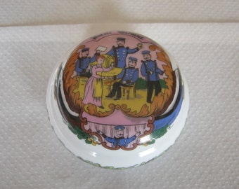 Reservist Tin, porcelain ca. 1897 year, this slogan home, diameter ca. 8 cm, height ca. 5 cm, no damage