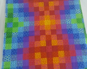 1.5 yards faux quilt fabric bright vivid colors