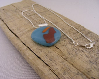 Blue/Red/Orange Glass Pendant with Silver Plated Snake Chain // handmade // OOAK // jewellery // abstract