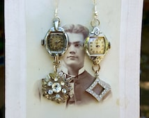 Pair of Earrings made from Vintage Watches and Brooches!