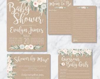 Printable Digital Rustic Boho Chic Baby Shower Invitation Suite