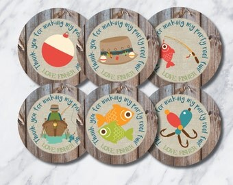 """2.5 inch digital """"Fishing Birthday"""" favor tags and gift tag"""
