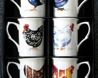 Chicken Bone china mugs -set of 6 gift boxed 10oz mugs