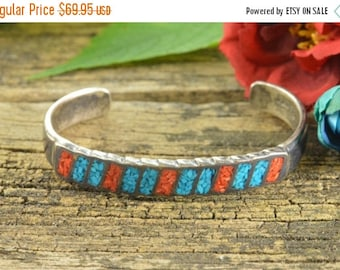 1 Day Sale Inlaid Spiny Oyster & Turquoise Cuff Bracelet Sterling Silver 19.6g