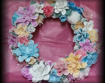 Upcycled/Recycled Plastic Bag Flower Wreath