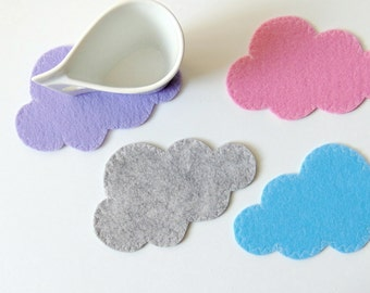 Cloud Felt Coasters, Felt  Drink Coasters Set, Set of 4 Felt Coasters, Handmade coasters