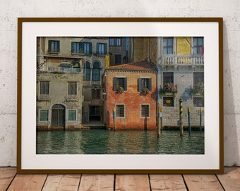 House in Venice, Italy, Venice canal, Printable wall decor, Colorful Venice , Instant download, Italian photo, Venice Art Poster print