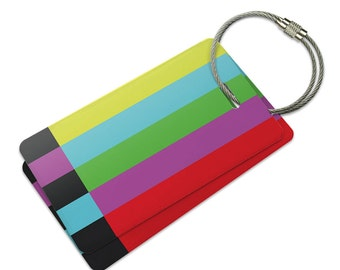 Test Television Color Bars Suitcase Bag ID Luggage Tag Set