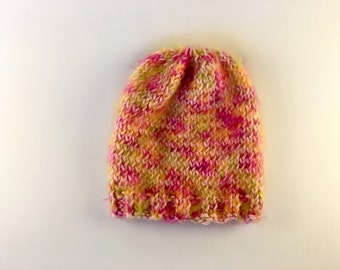 Hand knit super soft newborn baby girl hat