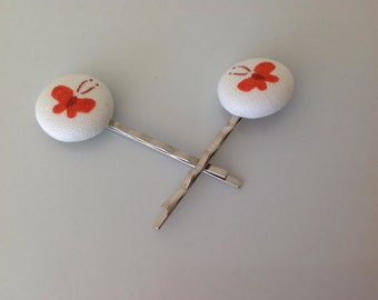 Bobby pin, butterfly, Butterfly fabric covered button bobby pin pair