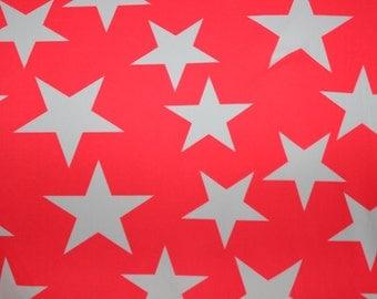 White/Coral Star Print Lycra/Spandex 4 way stretch Matt Finish Fabric