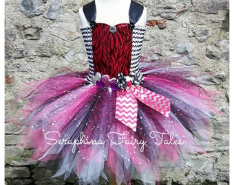 Pink Zebra Tutu Dress. Lined Glitter Hearts Party Pageant Dress. Handmade by Seraphina Fairy Tales