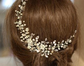 Bridal Headpiece, Crystal and Pearl Bridal Hair Piece, Ivory Bridal Headpiece, Bridal Hair Adornments, Wedding Jewellery, Bridal Halo.