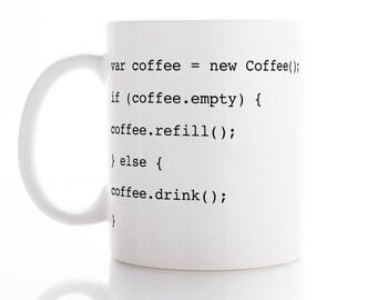 var coffee = new Coffee() Mug, Coffee Mug, Tea Mug,  Unique Mug, funny Mug, Office Mug,  Coffee cup, Programmer Mug