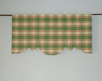 Moire Plaid Window Valance in Crimson/Apple, Lined