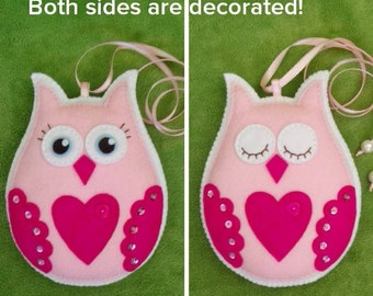 Day or Night Handmade felt owl. Ideal for Baby gift room decor. Home decoration