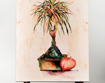 Ponytail Palm Painting, Palm Painting, Palm Watercolor, Coastal Art