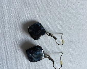 Black w/ grayish stone earrings