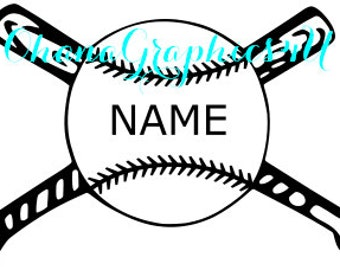 Bat & Ball Decal, Add Your Own Name SVG
