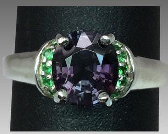 14k Purple Spinel & Tsavorite Ring, FREE SIZING