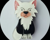 Kitty Cat Brooch (Black and White) Vintage Inspired, Novelty, Rockabilly, Pinup, Animal, Jewelry, Acrylic, Lasercut, Pin