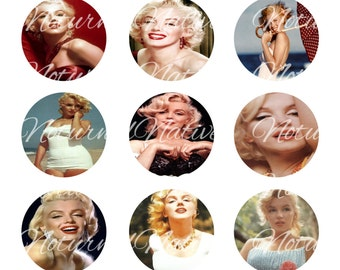 INSTANT DOWNLOAD !!! - Marilyn Monroe  - Digital Collage 1 inch Bottlecap Images - Buy 1 Get 1 Free !!!