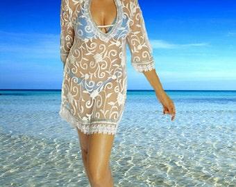 White Beach tunic, Resort, beach coverups, swimsuit coverup, Beach Cover ups ,honeymoon, Tunic, Vacation, Beach cover-ups, Beach top, resort