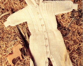 Knitting pattern baby onesie all in one pram suit toddler childs PDF Instant Download Nr.248