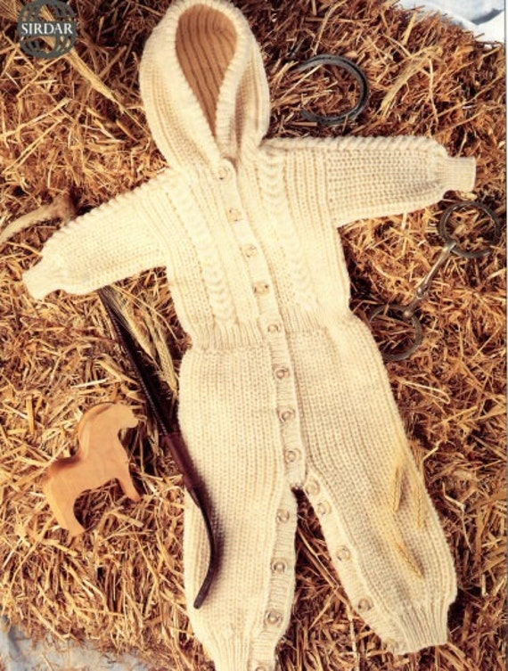 Knitted All In One Baby Suit Pattern : Knitting pattern baby onesie all in one pram suit toddler
