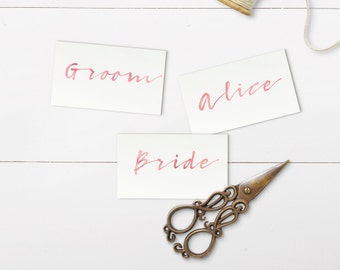 Pink Watercolour Font Place Cards