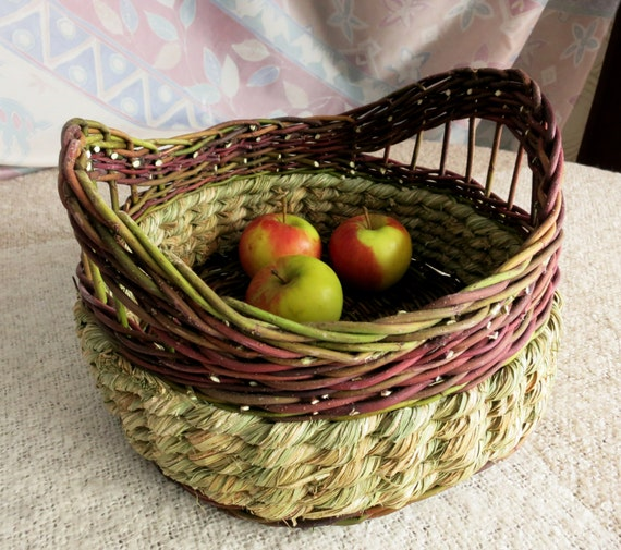 How To Weave A Basket Out Of Cattails : Items similar to hand woven basket willow natural