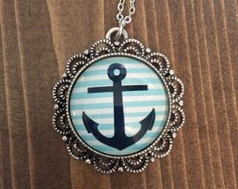Anchor Necklace Nautical Blue Anchor Necklace