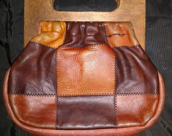 "Vintage 1970""s Brown Leather  patchwork wood top-handle Purse"