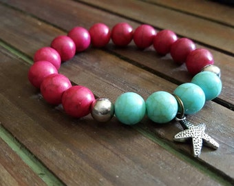 Oh, My Starfish! - Pink & Turquoise Beaded Charm Bracelet