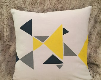 Hand painted decorative pillow with soft pillow insert
