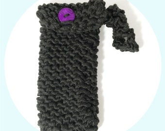 Knitted Phone Carrier, Gray and Purple Phone Cozy, Cell Phone Holder, iPhone Carrier, Knit Phone Carrier, Gray Smart Phone Cozy